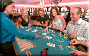Bonuses People playing poker in casino